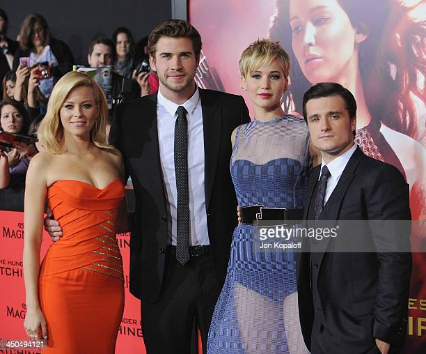 Elizabeth Banks Liam Hemsworth Jennifer Lawrence and Josh Hutcherson arrive at the Los Angeles Premiere The Hunger Games Catching Fire at Nokia...