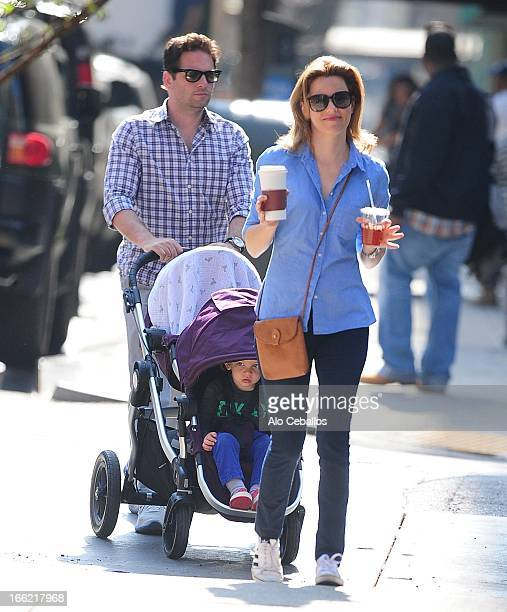 Elizabeth Banks Max Handelman and their son Felix Handelman are seen in the West Village on April 10 2013 in New York City
