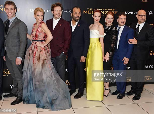 "Elizabeth Banks, Sam Claflin, Jeffrey Wright, Jena Malone, Julianne Moore, Josh Hutcherson and Stanley Tucci attend the World Premiere of ""The Hunger..."