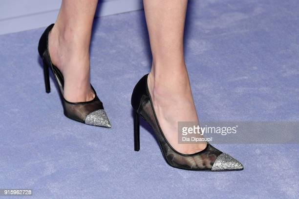 Elizabeth Banks, shoe detail, attends the Tom Ford Women's Fall/Winter 2018 fashion show during New York Fashion Week at Park Avenue Armory on...