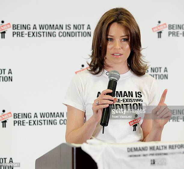 Elizabeth Banks speaks at the NWLC ''Being A Woman Is Not A Pre-Existing Condition'' press conference at Hyatt Regency Century Plaza on November 5,...
