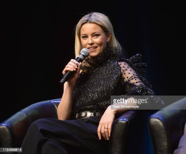 Elizabeth Banks speaks onstage at CinemaCon 2019 Frankly Speaking The EverChanging World of Filmmaking Today Tomorrow and Beyond at Caesars Palace...
