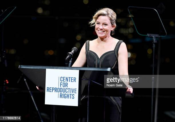 Elizabeth Banks speaks onstage at the Center For Reproductive Rights 2019 Gala at Jazz at Lincoln Center on October 28 2019 in New York City