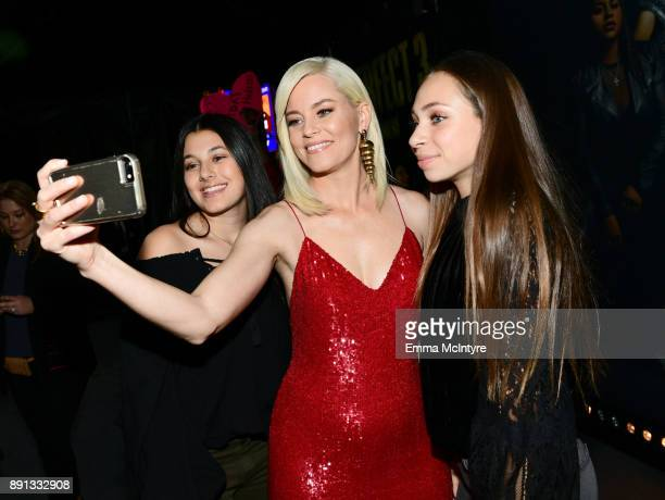 Elizabeth Banks takes a selfie with fans at the premiere of Universal Pictures' 'Pitch Perfect 3' at Dolby Theatre on December 12 2017 in Hollywood...