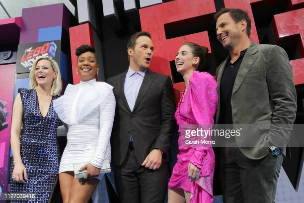 Elizabeth Banks Tiffany Haddish Chris Pratt Alison Brie and Will Arnett attend the premiere of Warner Bros Pictures' 'The Lego Movie 2 The Second...