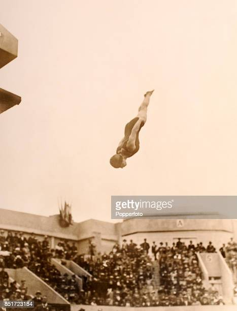 Elizabeth Becker-Pinkston of the USA enroute to a silver medal in the women's 10 metre platform diving event during the Summer Olympic Games in Paris...