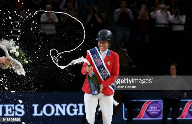Elizabeth Beezie Madden of USA riding Breitling LS celebrates during the trophy cerermony winning the FEI World Cup Jumping Final during the FEI...