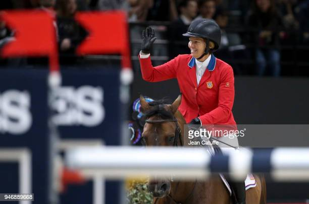 Elizabeth Beezie Madden of USA riding Breitling LS celebrates winning the FEI World Cup Jumping Final during the FEI World Cup Paris Finals 2018 at...