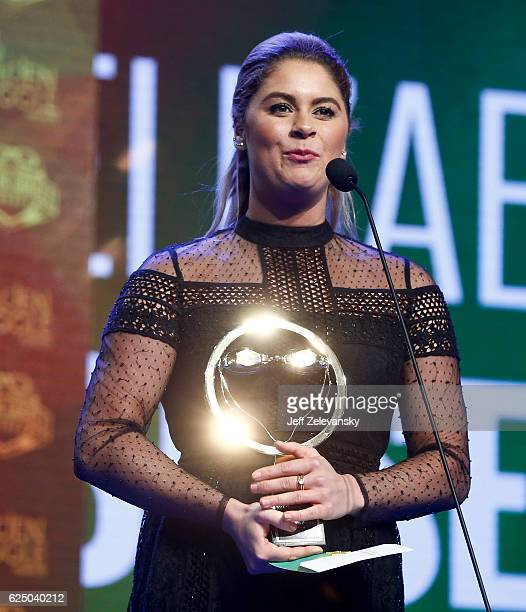 Elizabeth Beisel accepts the Team Leadership and Inspiration Award during the 2016 Golden Goggle Awards at the Marriott Marquis Hotel on November 21...