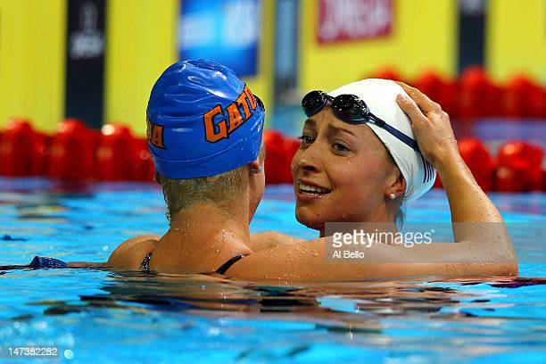 Elizabeth Beisel and Ariana Kukors react after they competed in the Women's 200 m Individual Medley during Day Four of the 2012 US Olympic Swimming...