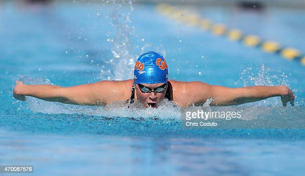 Elizabeth Beisel competes in the 200m Butterfly Prelim during day three of the Arena Pro Swim Series at the Skyline Acquatic Center on April 17 2015...
