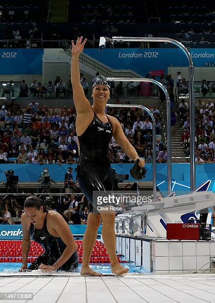 Elizabeth Beisel of the United States celebrates after competing in the Women's 200m Backstroke Semifinal 1 on Day 6 of the London 2012 Olympic Games...
