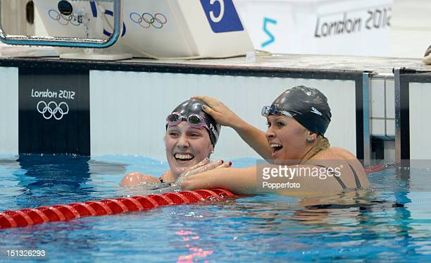 Elizabeth Beisel of the United States congratulates Missy Franklin of the United States on winning the Women's 200m Backstroke Final on Day 7 of the...