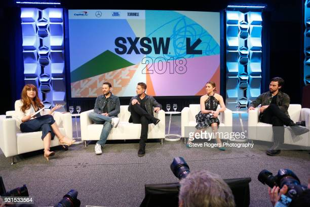 Elizabeth Berger Dan Fogelman Justin Hartley Mandy Moore and Milo Ventimiglia speak onstage at Featured Session The Cast of 'This Is Us' during SXSW...