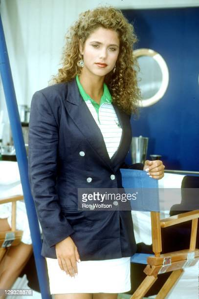 Elizabeth Berkley on the set of Saved By The Bell at the BelAir Bay Club in Pacific Palisades on August 20 1991 in Los Angeles California