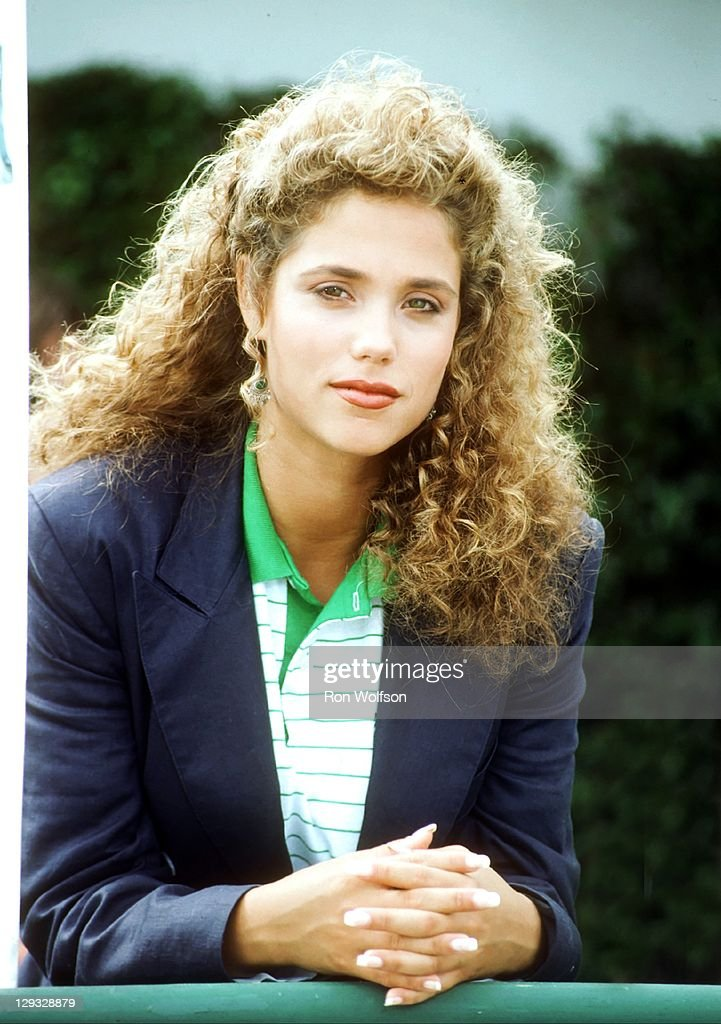 Elizabeth Berkley on the set of 'Saved By The Bell' at the Bel-Air Bay Club in Pacific Palisades on August 20, 1991 in Los Angeles, California