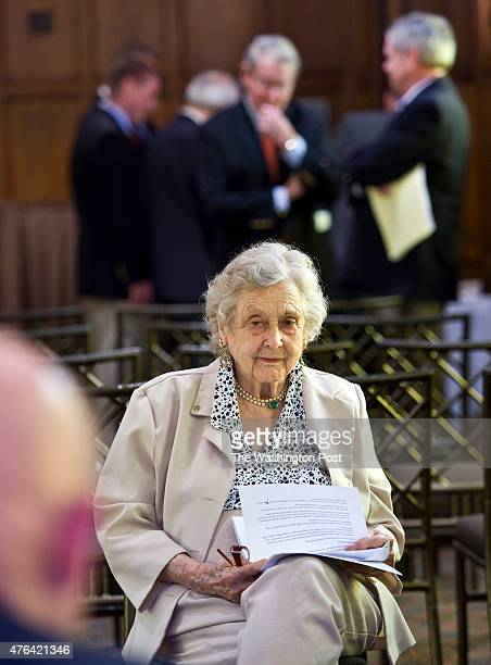 Elizabeth Betty McIntosh the only woman on the board of OSS Society listens during a meeting at an annual luncheon meeting Sunday May 2011 in...