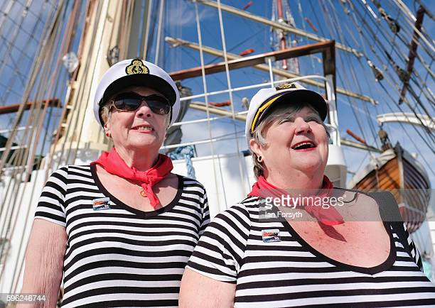 Elizabeth Bewick 72 and her friend Mary Cochrane from North Shields enjoy the day as they visit one of the ships during the North Sea Tall Ships...