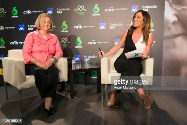 Elizabeth Blackburn and Mamen Mendizabal attend the 'Presente y Futuro de la Investigación del Cancer' event on September 24 2018 in Madrid Spain