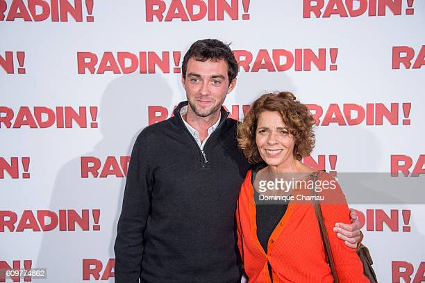 """Elizabeth Bourgine and her son Jule attends the """"Radin"""" Paris Premiere at Cinema Gaumont Opera on September 22, 2016 in Paris, France."""