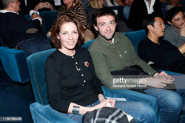 Elizabeth Bourgine and her son Jules Bourgine attend the Mon Inconnue Paris Premiere at Cinema UGC Normandie on April 01 2019 in Paris France