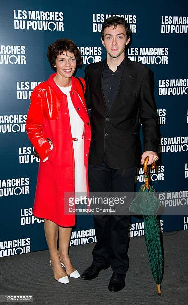 Elizabeth Bourgine and Jules attend the Paris premiere of 'The Ides of March'at Cinema UGC Normandie on October 18 2011 in Paris France