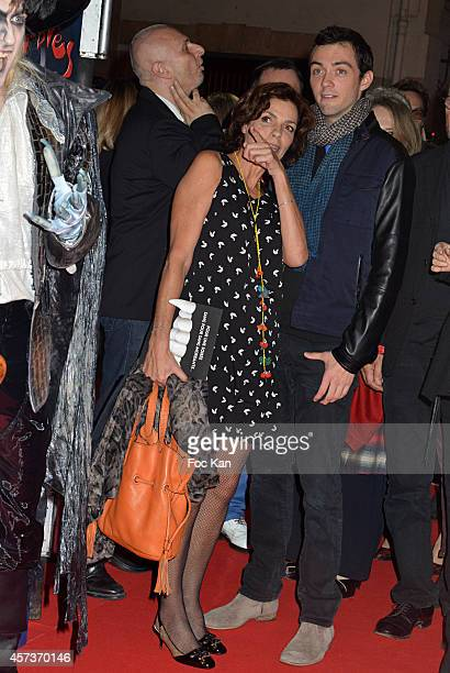 Elizabeth Bourgine and son jules attend 'Le Bal Des Vampires' Premiere At Theatre Mogador on October 16 2014 in Paris France