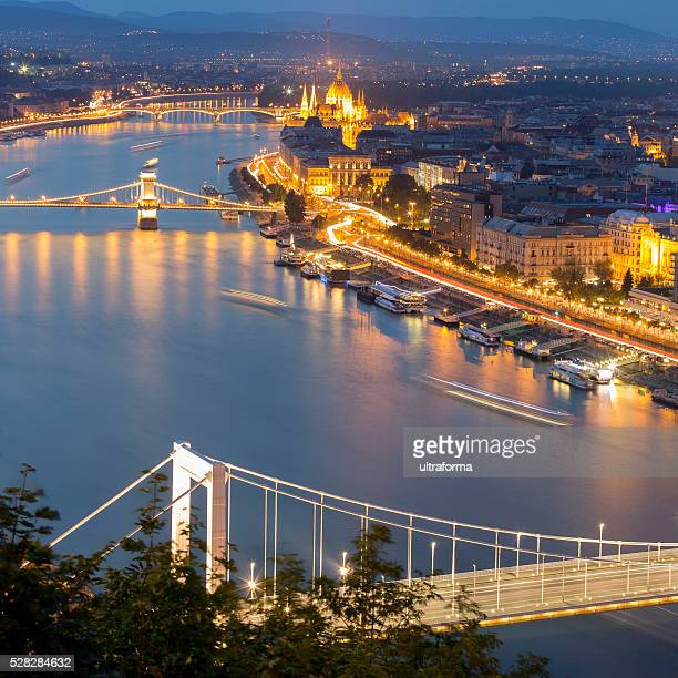 Elizabeth Bridge Chain Bridge and Parliament in Budapest at dusk