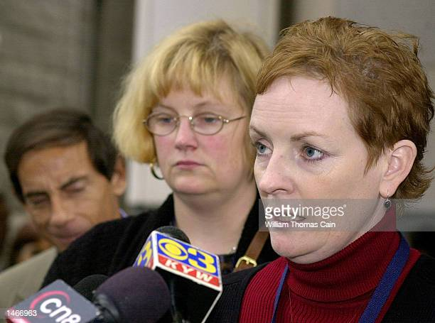 Elizabeth Buffy Hall speaks to the media during a break in the trial of Ira Einhorn outside the Criminal Justice Center October 9 2002 in...