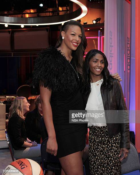 Elizabeth Cambage and Sydney Colson pose for a photo during the 2011 WNBA Draft Presented By Adidas on April 11 2011 at ESPN in Bristol Connecticut...