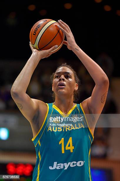 Elizabeth Cambage of Australia attempts a free throw during the Women's Basketball International Friendly match between Japan and Australia at Yoyogi...