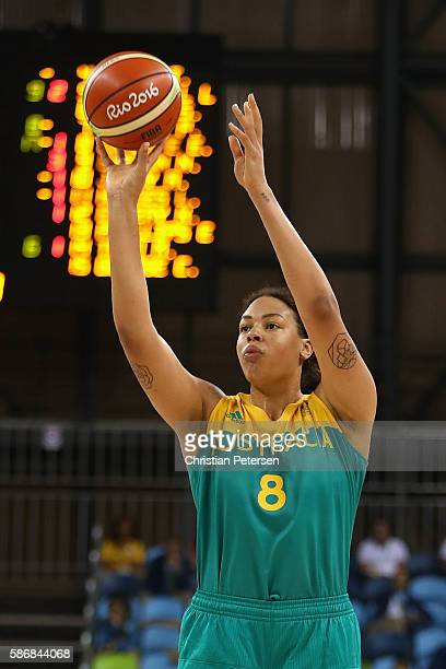 Elizabeth Cambage of Australia attempts a shot against Brazil during a Women's Basketball Preliminary Round game on Day 1 of the Rio 2016 Olympic...