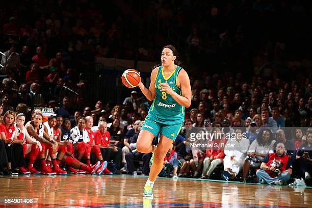 Elizabeth Cambage of Australia brings the ball up court against the USA Basketball Women's National Team on July 31 2016 at Madison Square Garden in...