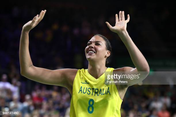 Elizabeth Cambage of Australia celebrates victory following the Women's Gold Medal Game on day 10 of the Gold Coast 2018 Commonwealth Games at Gold...