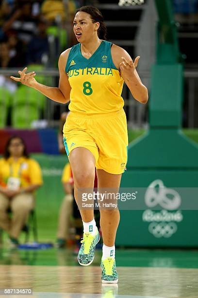 Elizabeth Cambage of Australia gestures as she runs upcourt against Turkey during a Women's Basketball Preliminary Round game at the Rio 2016 Olympic...