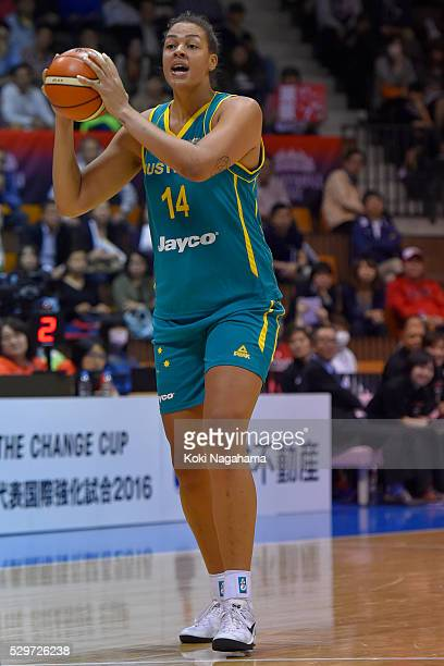 Elizabeth Cambage of Australia handles the ball during the Women's Basketball International Friendly match between Japan and Australia at Yoyogi...