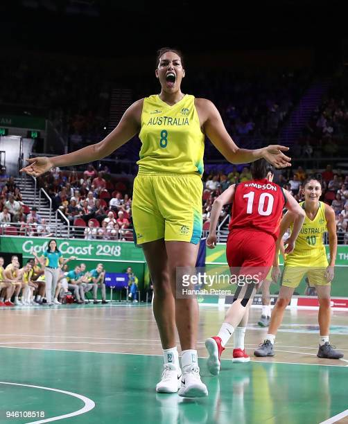 Elizabeth Cambage of Australia reacts during the Women's Gold Medal Game on day 10 of the Gold Coast 2018 Commonwealth Games at Gold Coast Convention...