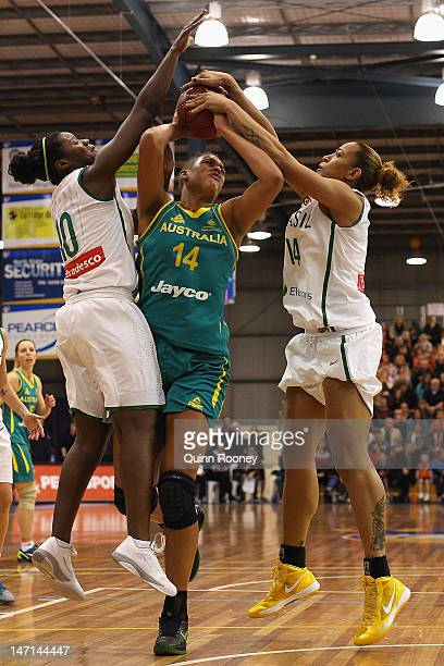 Elizabeth Cambage of Australia shoots during the second match between the Australian Opals and Brazil at Benidgo Basketball Stadium on June 26 2012...