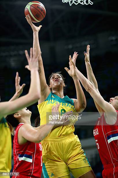 Elizabeth Cambage of Australia shoots during the Women's Quarterfinal match between Australia and Serbia at the Carioca Arena on August 16 2016 in...