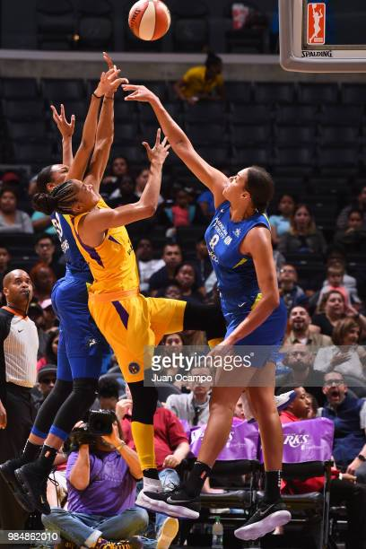 Elizabeth Cambage of the Dallas Wings blocks a shot against the Los Angeles Sparks on June 26 2018 at STAPLES Center in Los Angeles California NOTE...
