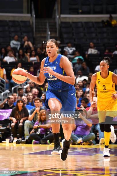 Elizabeth Cambage of the Dallas Wings handles the ball against the Los Angeles Sparks on June 26 2018 at STAPLES Center in Los Angeles California...