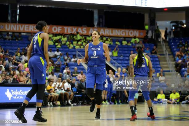 Elizabeth Cambage of the Dallas Wings reacts to a play against the New York Liberty on July 17 2018 at College Park Center in Arlington Texas NOTE TO...