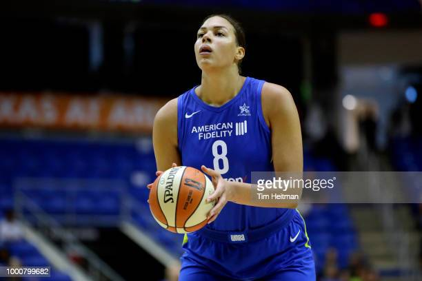 Elizabeth Cambage of the Dallas Wings shoots a free throw against the New York Liberty on July 17 2018 at College Park Center in Arlington Texas NOTE...