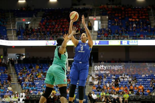 Elizabeth Cambage of the Dallas Wings shoots the ball against the New York Liberty on July 17 2018 at College Park Center in Arlington Texas NOTE TO...
