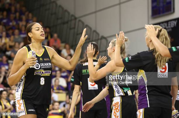Elizabeth Cambage of the Melbourne Boomers is announced onto the court prior to game two of the WNBL Grand Final series between the Melbourne Boomers...