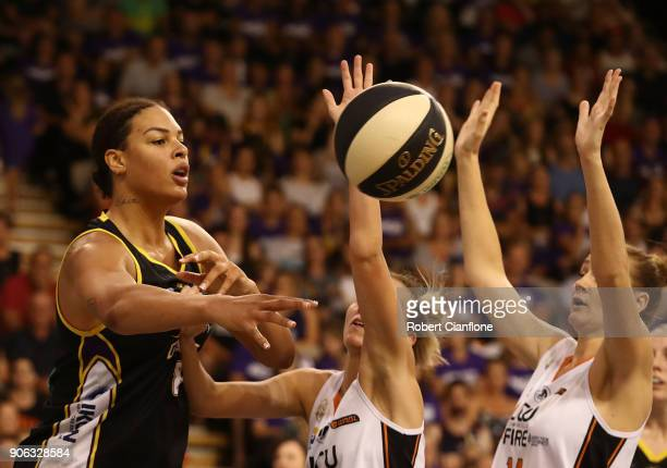 Elizabeth Cambage of the Melbourne Boomers passes the ball during game two of the WNBL Grand Final series between the Melbourne Boomers and the...