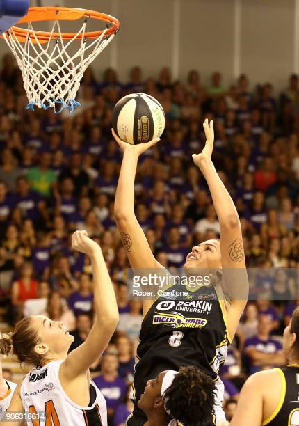 Elizabeth Cambage of the Melbourne Boomers shoots during game two of the WNBL Grand Final series between the Melbourne Boomers and the Townsville...