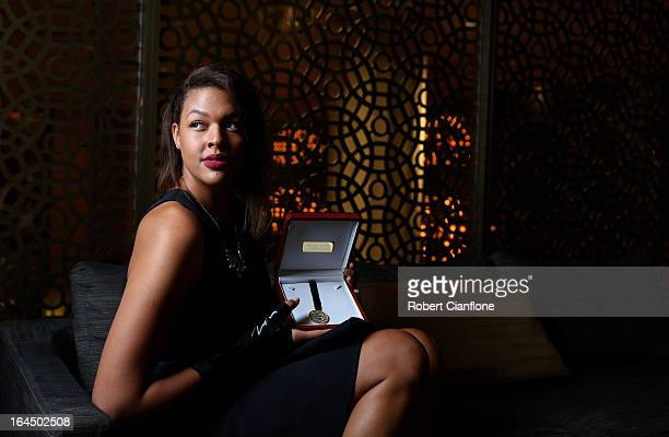 Elizabeth Cambage poses after winning the International Player of the Year at the 2013 Basketball Australia MVP Awards at Crown Palladium on March 24...