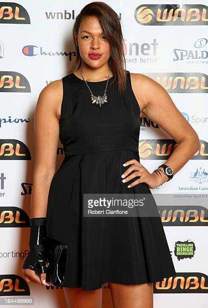 Elizabeth Cambage poses as she arrives for the 2013 Basketball Australia MVP Awards at Crown Palladium on March 24 2013 in Melbourne Australia