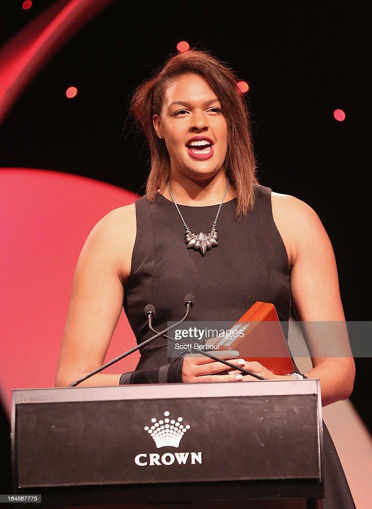 Elizabeth Cambage speaks after winning the International Player of the Year during the 2013 Basketball Australia MVP Awards at Crown Palladium on March 24, 2013 in Melbourne, Australia.